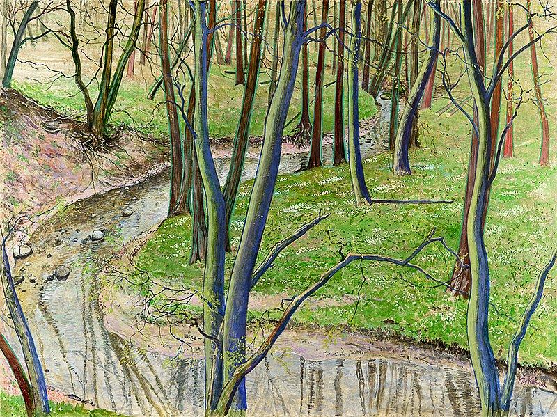 Buschwindröschental 2: Acryl auf Hartfaser 48/78 cm