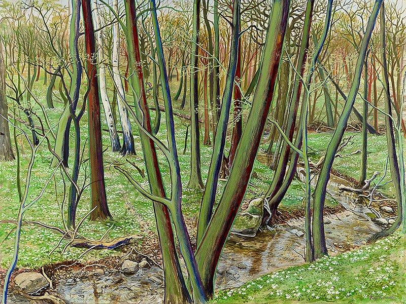 Buschwindröschental: Acryl auf Leinwand 48/78 cm