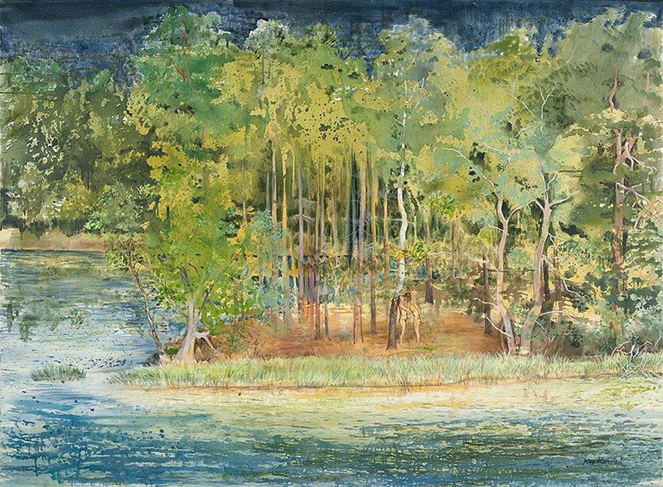 Waldinsel: Acryl auf Leinwand 150/110 cm