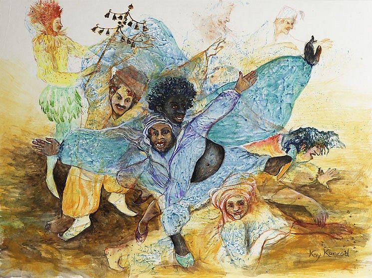 Es klinget so herrlich: Gouache auf Karton 42 / 32 cm Monostatos bemerkt die Flucht und verfolgt mit seinen Schergen die beiden.Im Augenblicke höchster Not erinnert sich Papageno des Glockenspiels und als sie erklingen, können die Verfolger nicht anders als davon zu tanzen.