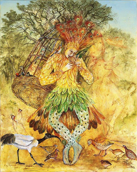 """Papageno: Acryl auf Leinwand 100 / 70 cm   Papageno pfeift ein lustiges Lied(""""der Vogelfänger bin ich ja,stets lustig heissa hoppsasa,..."""")und träumt von Papagena.Für die Königin der Nacht fängt er Vögel.Dafür erhält er Brot und Wein."""