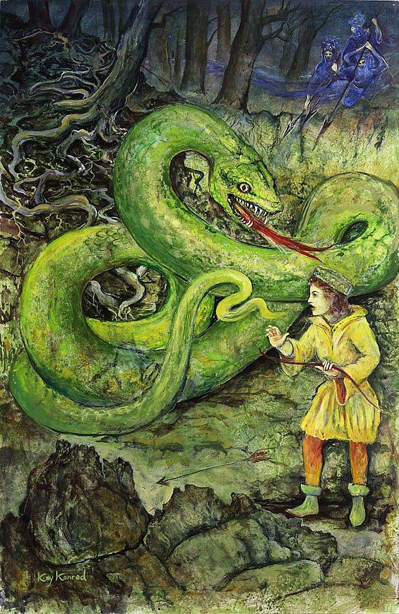 Zu Hilfe,zu Hilfe : Tamino wird von einer Riesenschlange verfolgt, und anstatt sie zu töten, fällt er in Ohnmacht. Zu Hilfe eilen die drei Grazien, Dienerinnen der Königin der Nacht