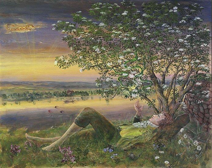 """Anselmus und Serpentina: Acryl auf Eschenholz 107/ 84cmm Anselmus flüchtet vor dem fluchenden Apfelweib an die Elbe und legt sich schließlich unter einen Holunderbusch. Bald schon vernimmt er kristallene Glocken in den Zweigen... sieht drei goldgrüne Schlänglein..."""" die schlüpften, ko´sten auf und nieder...da fuhr es ihm durch alle Glieder,"""" und er erblickt die dunkelblauen Augen Serpentinas."""