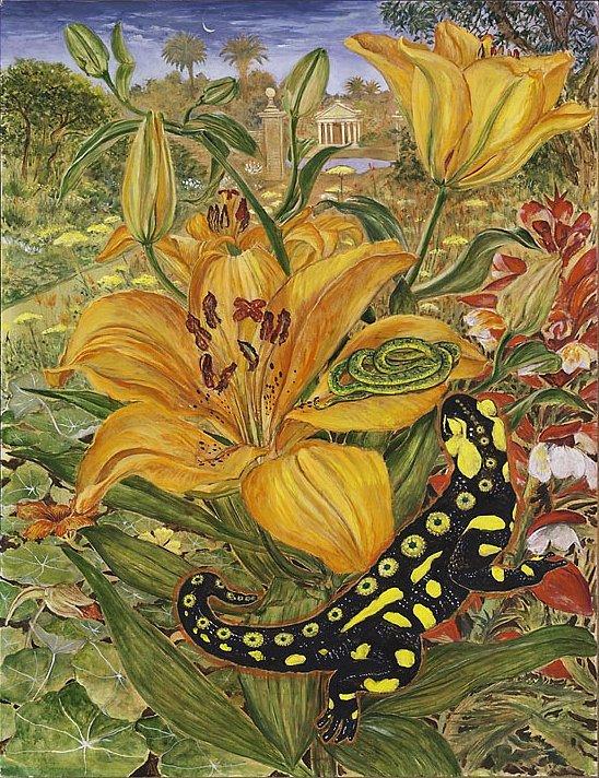 Die Liebe des Salamanders: Gouache auf Karton 50 / 60 cm Vor langer,langer Vorzeit in Atlantis: der Feuersalamander und spätere Archivarius Lindhorst sieht im Garten des Geisterfürsten Phosphorus im Kelch einer Feuerlilie die schlafende grüne Schlange und verliebt sich wie toll in sie.