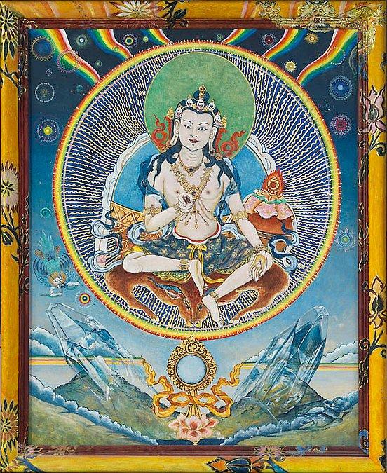 Garab Dorje  : Der erste menschliche Dzogchenmeister  Acryl/Blattgold auf Hartfaser 96/65cm