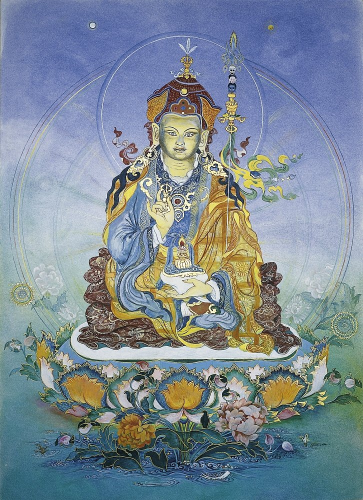 Padmasambhawa - Dewa Chenpo: Gouache , Öllasuren auf Bristolkarton 63/88 cm