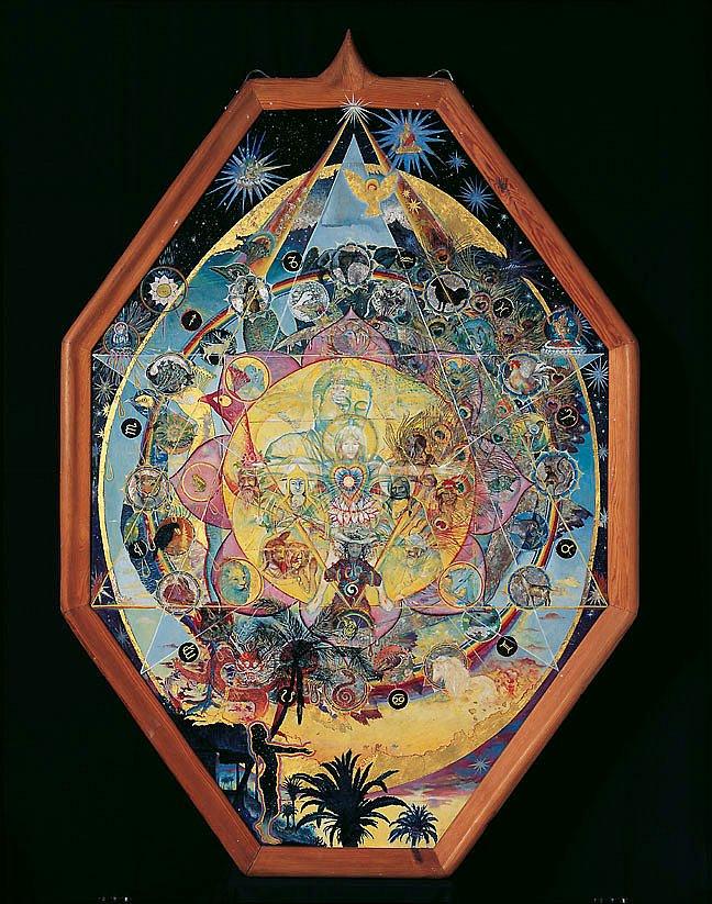 Mandala der Religionen: Acryl/Blattgold auf Hartfaser  170 /125cm