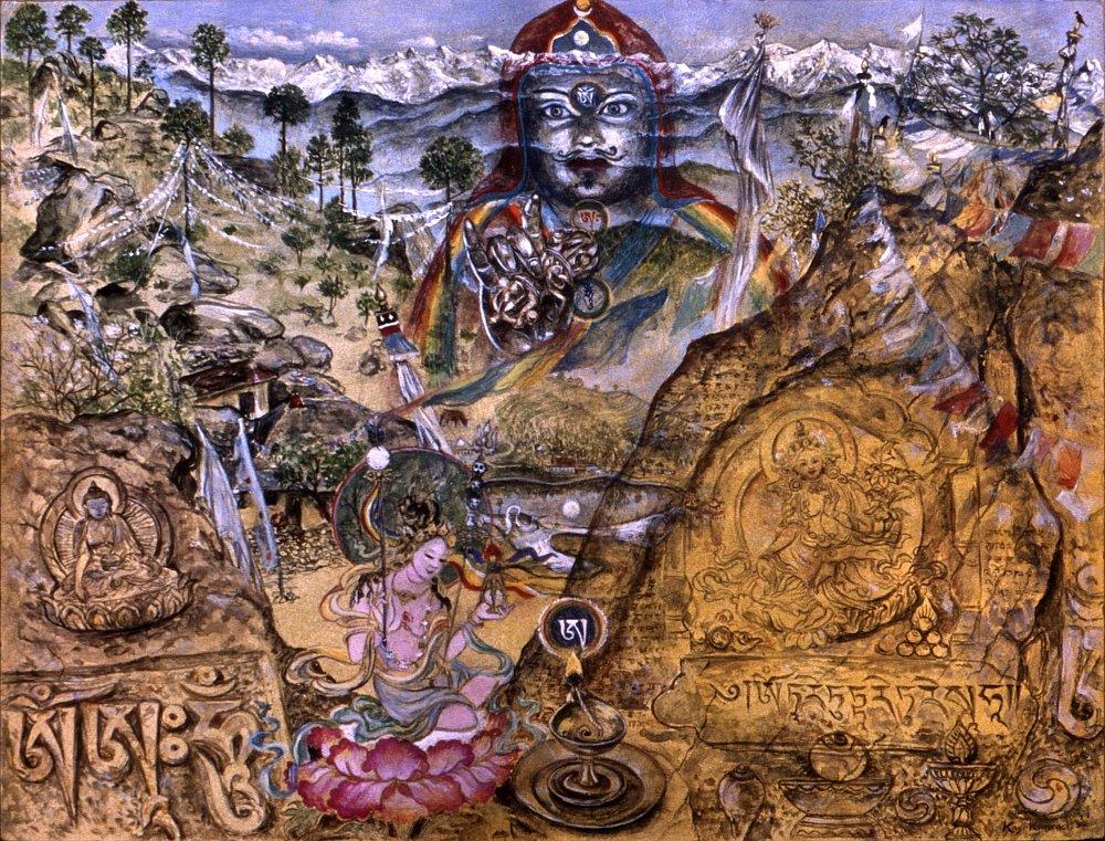 Tso Pema:  Der Ort an dem Padmasambhawa und Mandarawa in einer Höhle meditiert haben. Auch heute noch ein wichtiger Pilgerort und Retreatplatz.   Gouache auf Papier  24 / 36 cm