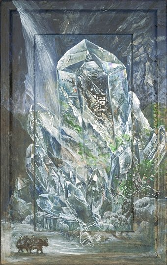 Himalayakristall  : Acryl auf Holz  32/46 cm