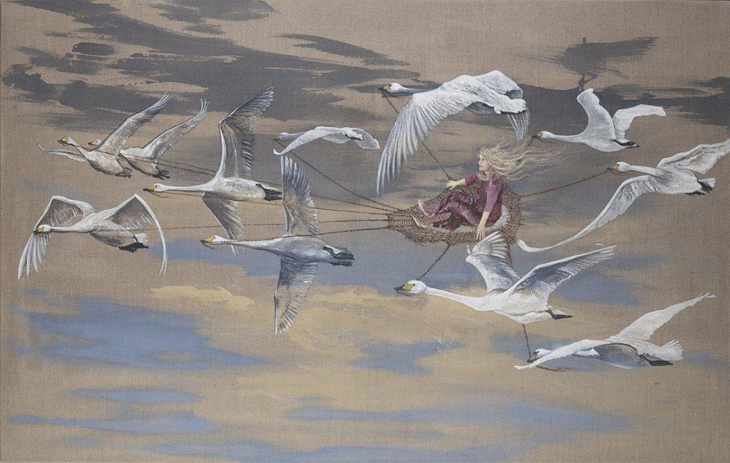 Amely und die wilden Schwäne: Acryl auf Leinwand 150 / 95 cm