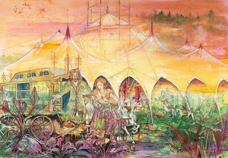 die Ankunft des Karottenkönigs  : Triptychon links Acryl auf Leinwand 100 / 70 cm