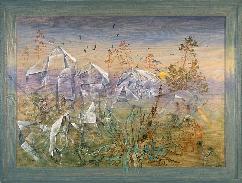 Don Quijote im Kristall: Acryl auf Eschenholz 56 / 68 cm
