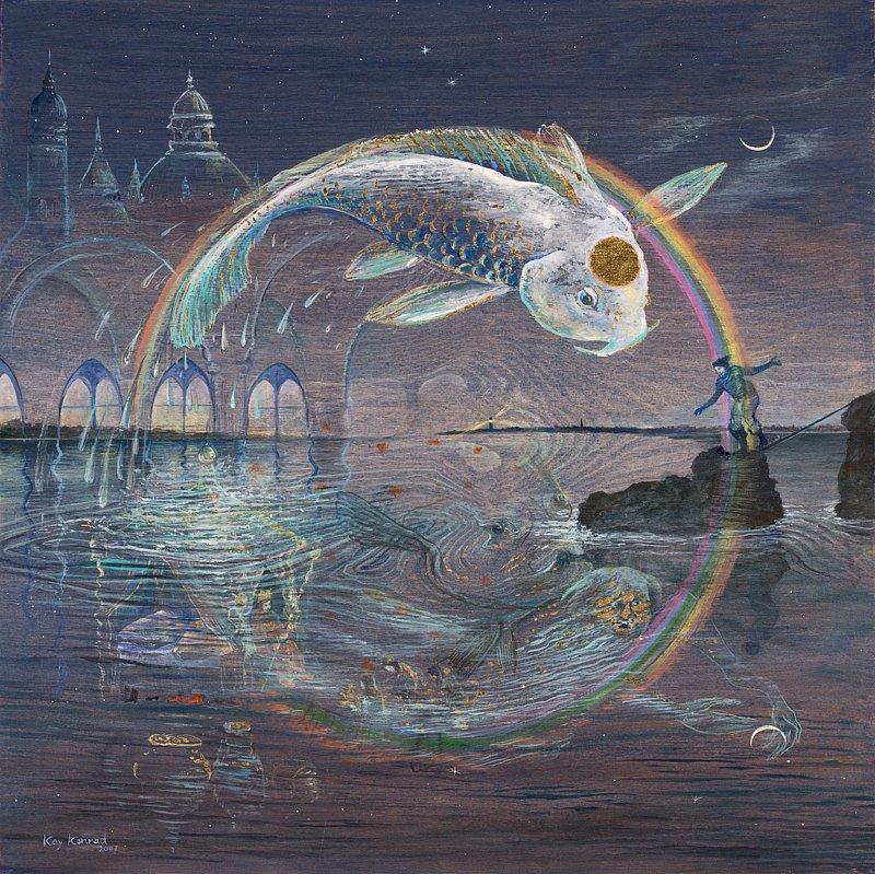 Fisherman` s dream: Acryl auf Holz 56 / 57 cm
