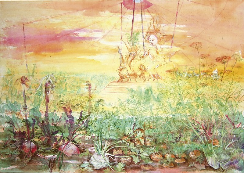Die Königsbraut: der Karottenkönig stellt dem Gemüsevolk seine Braut vor Acryl auf Leinwand 100 / 70 cm
