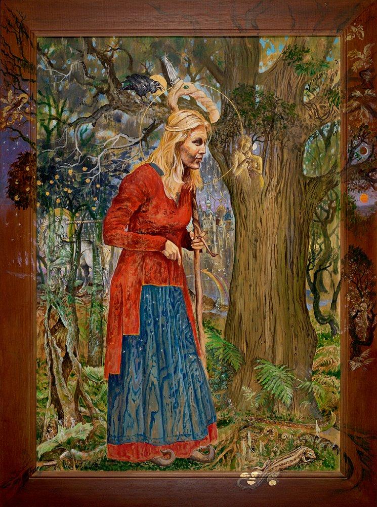 Die Märchenerzählerin: Acryl auf Sperrholz 124 / 86 cm