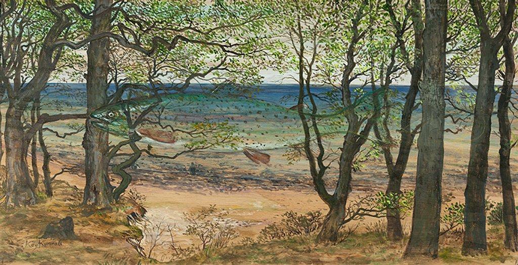 Regenbogenforelle: Acryl auf Eschenholz 17 / 37 cm
