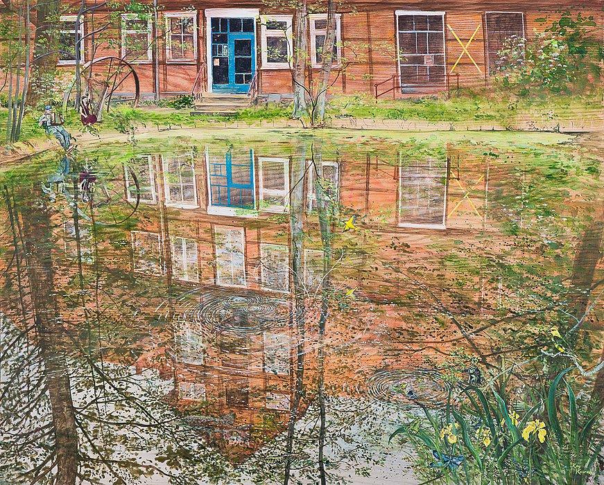 Teichkonzert: Kulturelle Landpartie in der Zeetzer Mühle Acryl auf Eschenholz     82/102cm
