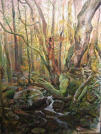 Bach im Lorbeerwald: La Gomera Gouache auf Papier 50 / 65 cm