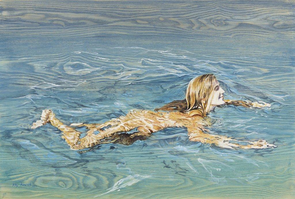 Frei schwimmen: Acryl auf Eschenholz 47 / 65 cm