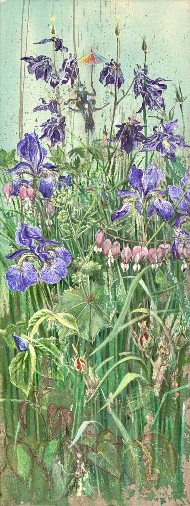 Akelei und Iris: Aryl auf Leinwand 30 / 80 cm
