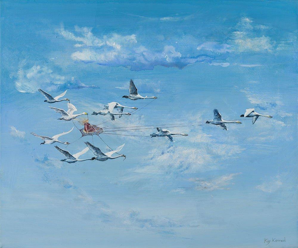 Wilde Schwäne in  Wolken: Acryl auf Leinwand 50 / 60 cm