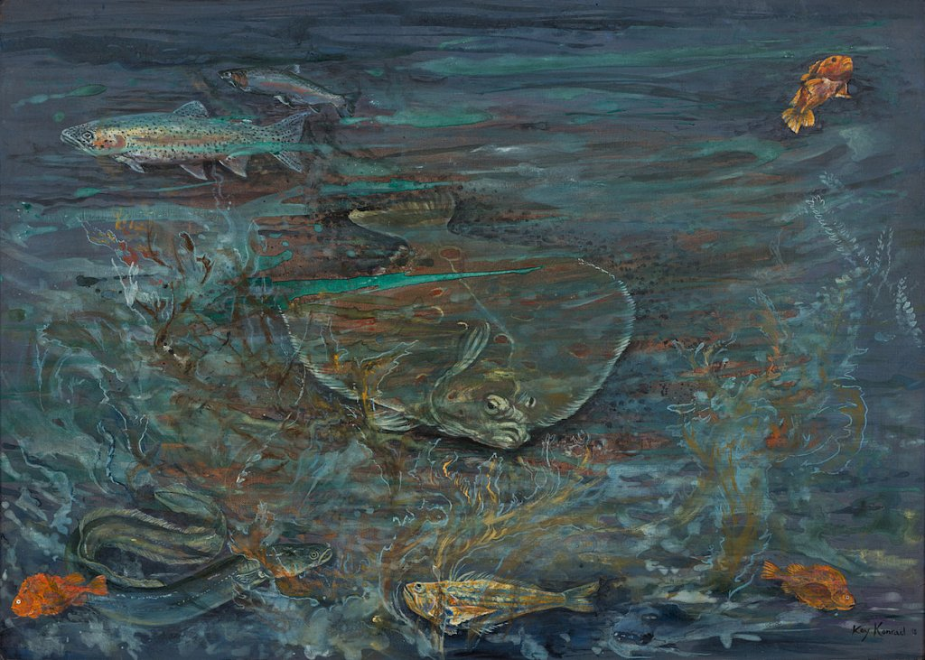 Fishes by the see: Acryl auf Leinwand 50/ 70 cm
