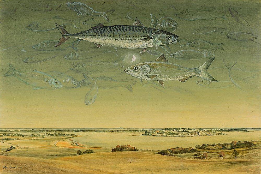 Ein Hering und eine Makrele: Acryl auf Leinwand 2018