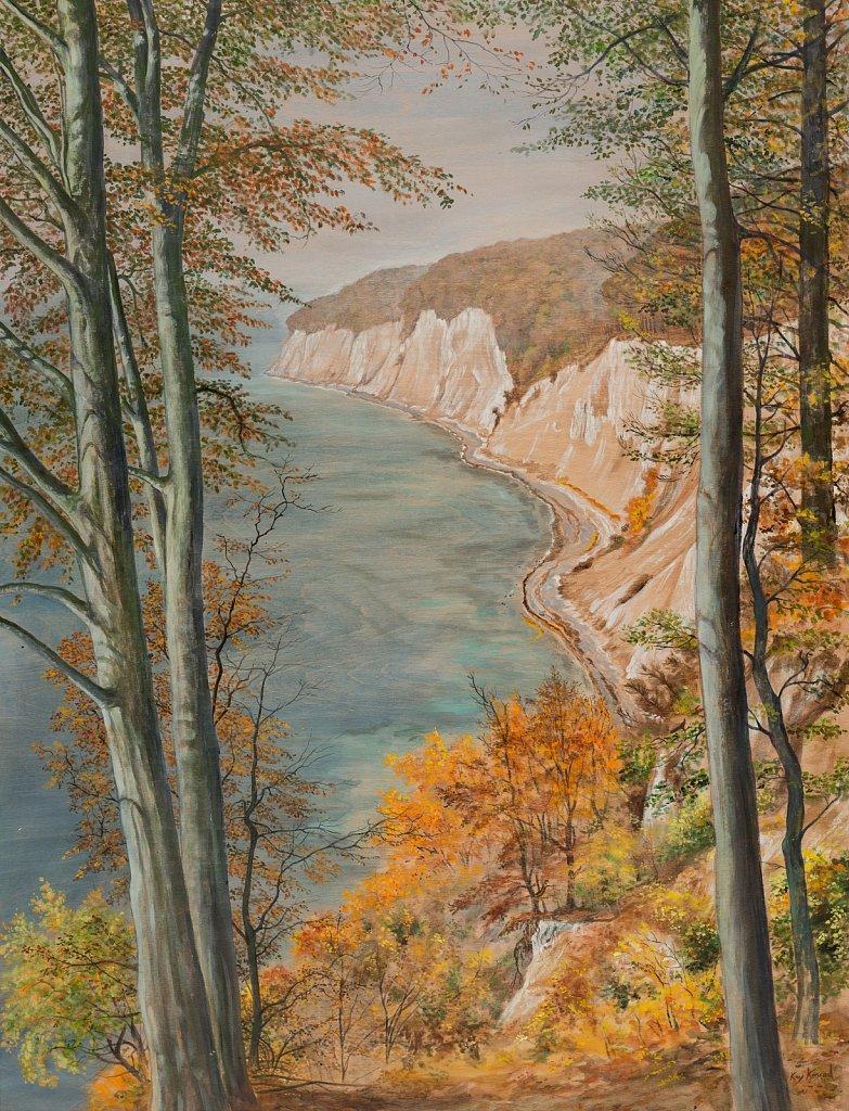 Höhenwanderweg: Acryl auf Buchenholz 86/ 65 cm