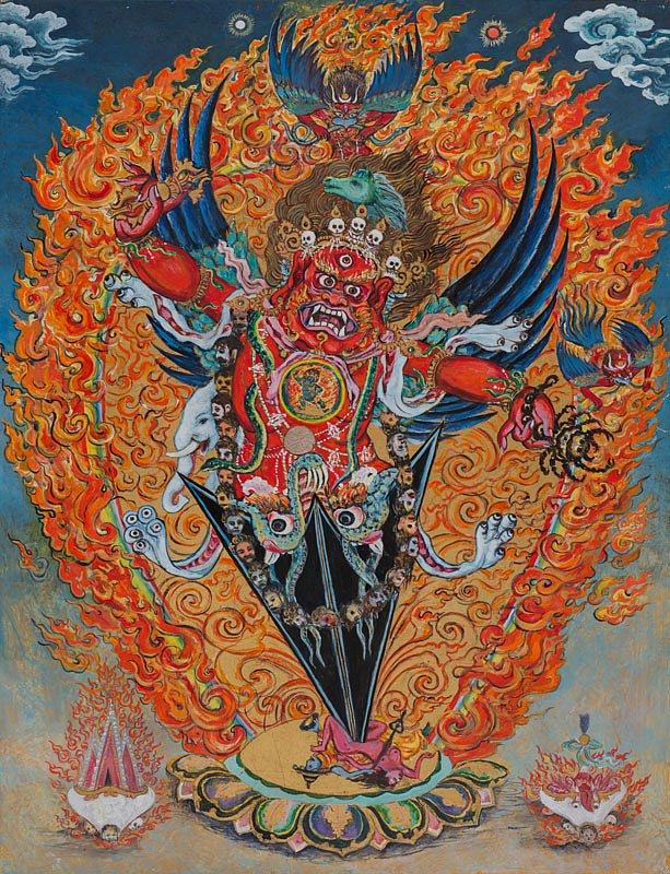 Guru Dragpur: Acrylics, Gouache/ goldleaves on hardboard 45/ 59 cm Acryl, Gouache, Blattgold auf Hartfaser