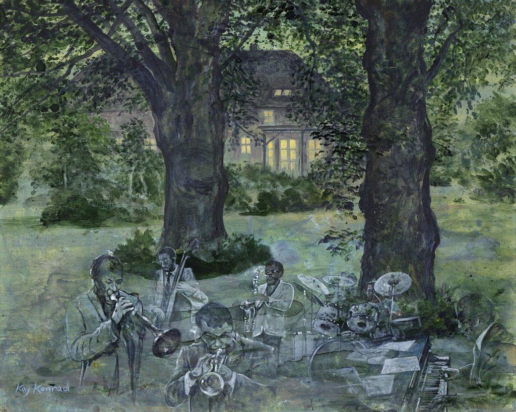 Blue Note-Jazz in the garden: Acryl auf Leinwand 40 / 50 cm