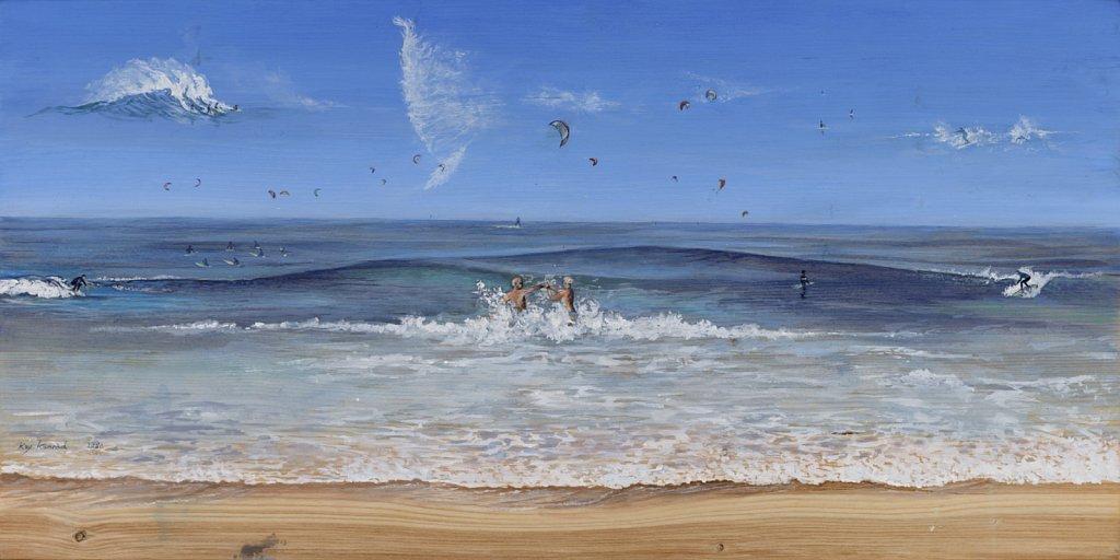 Perfekte Wellen: Acryl auf Eschenholz 40 /80 cm