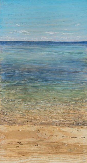 Ostsee im Juni: Acryl auf Eschenholz 23 / 43 cm