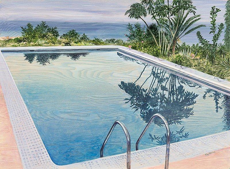Pool Teneriffa  : Acryl auf Eschenholz 46 / 68 cm