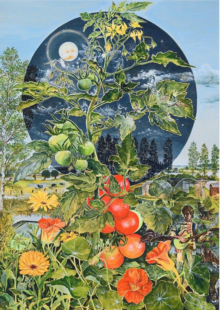 Konzert für Flöte und Tomate  :   Gouache auf Karton 96/65 cm