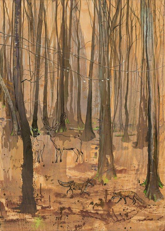 Regentag: Acryl auf Holz  50 / 70 cm
