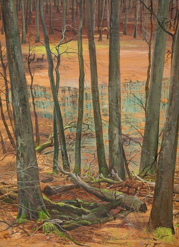 Waldtümpel Nationalpark Jasmund: Acryl auf Holz 56/78 cm