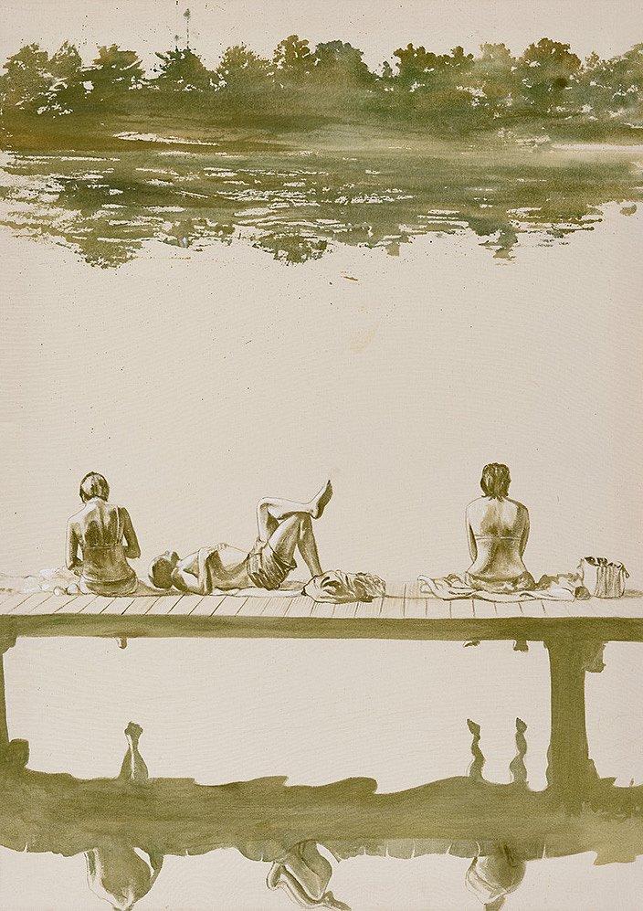 Badesteg- Griebeler See: Acryl auf Leinwand 125 / 90 cm