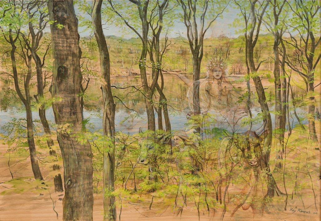 Herthasee im Frühling: Acryl auf Eschenholz 45 / 64 cm Die germ. Erdgöttin Hertha fährt im Frühling mit Ihrem Ochsengespann aus  dem See und segnet das Land und seine Bewohner