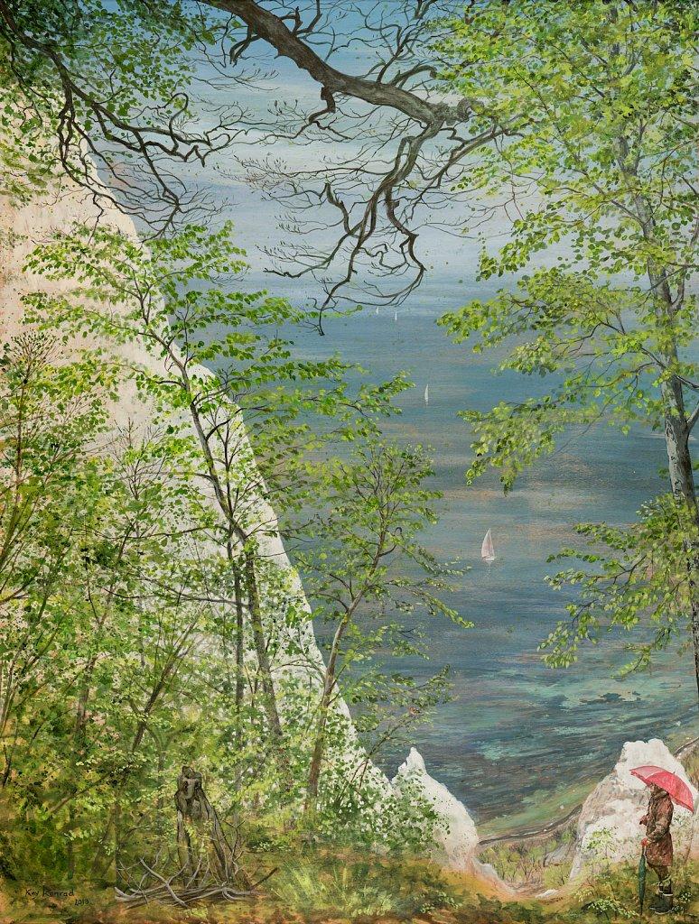 Gruß an Caspar David: Acryl auf Buchenholz 86/ 65 cm Kreidefelsen Rügen