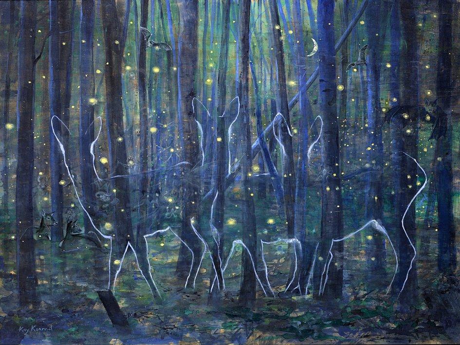 Mittsommernachtswald: Acryl auf Kiefernholz 80 / 60 cm